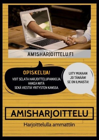 Työharjoittelupaikka opiskelijoille Amisrekryn itsepalvelukanavasta Amisharjoittelu.fi:stä!