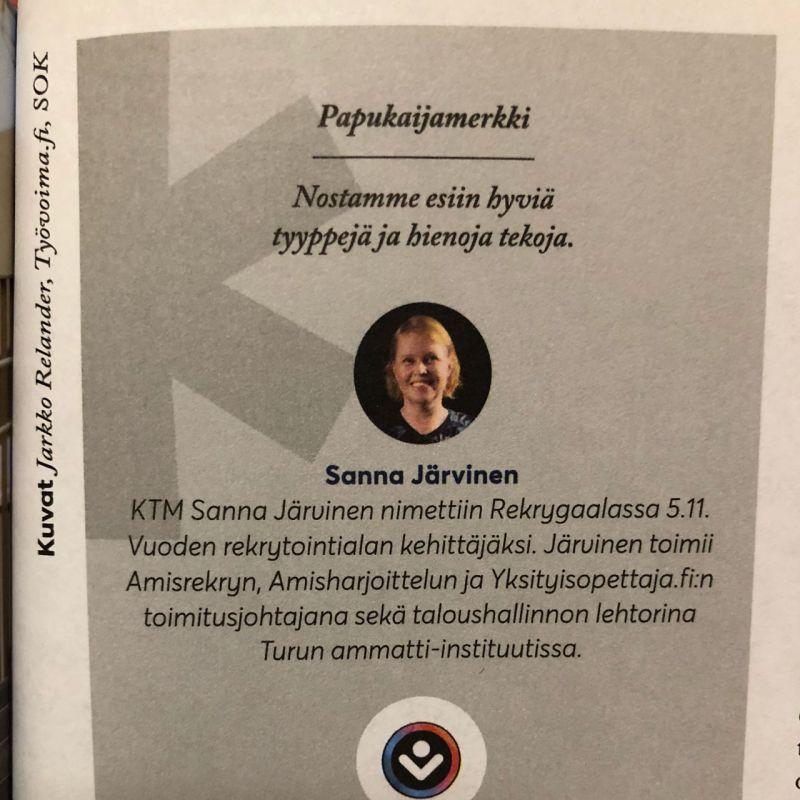 Ekonomi-lehti papukaijamerkki Sanna Järvinen