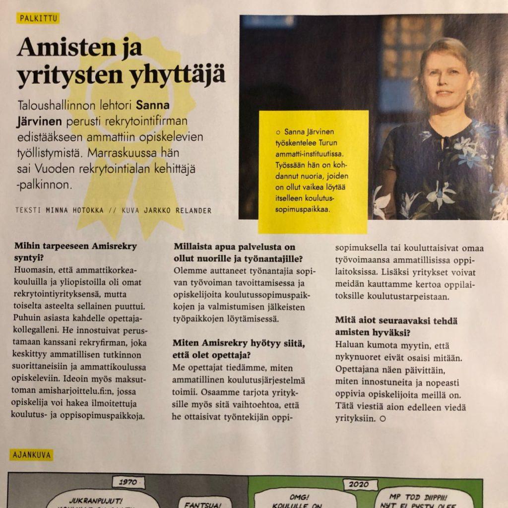 Opettaja-lehti Sanna Järvinen